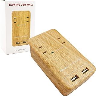 Fargo インテリア おしゃれ 壁さし 電源タップ 国内サポート対応 1年保証付 TAPKING USB WALL ベージュウッド AC2個口 3.4A 急速充電 USB2ポート スマホスタンド