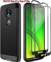 Motorola Moto G7 Power Case, Moto G7 Supra Case with 2PCs Tempered Glass Screen Protectors, Vecomelo Slim Fit Defender Shock Absorption Anti-Scratch Cover Bumper Case for Moto G7 Power/Supra, Black