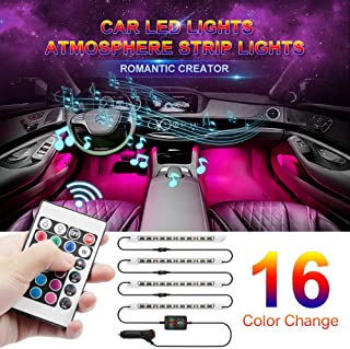 Wsiiroon Car Led Lights, 16 Colors Remote Control