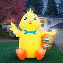 Holidayana 8 Foot Inflatable Easter Baby Chick with Easter Eggs Basket Decoration, Includes Built-in Bulbs, Tie-Down Points, and Powerful Built-in Fan