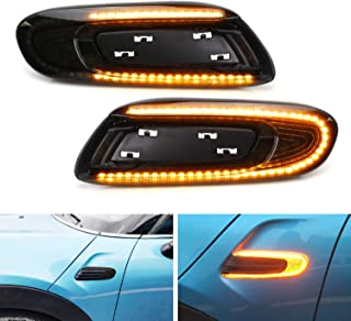 iJDMTOY Euro Smoked Lens Sequential Blink Amber LED Fender Side Marker Light Kit For MINI Cooper F55 F56 F57 Hardtop/5-Door/Convertible, Powered by 56 LED Diodes, Replace OEM Amber/Clear Sidemarkers