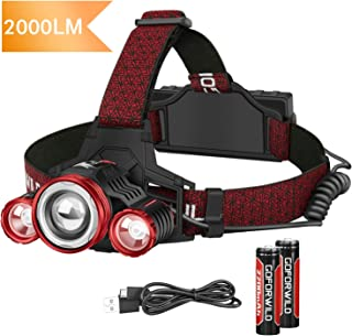 Headlamp,GOFORWILD Upgraded 2000 Lumen Brightest Rechargeable LED Headlamp for Adults, With Battery Level Indicator,4 Light Modes zoomable work light,Waterproof Head Lights for Camping,Hiking, Outdoor