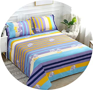 3ピースベッドセットベッドシートクイーンキングツインサイズコットン/ポリエステルフラットシートベッドリネンフィットシートシーツ2枕,T1,1 pcs pillowcase
