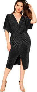 Women's Short Sleeve V Neck Twist Front Split Midi Dress