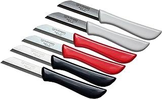 6er Set Gemüsemesser scharf/Küchenmesser/Schälmesser/Obstmesser klein/Fischmesser Elegance Serie rot/grau/weiß Solingen Germany bunt-grau-weiß-rot