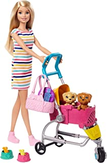 Barbie Stroll 'n Play Pups Playset with Blonde Barbie Doll (11.5-Inch), 2 Puppies, Pet Stroller and Accessories, Gift for ...