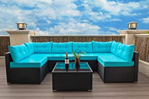 SHA CERLIN 7 Pieces Patio Furniture Sets Conversation Set, All-Weather Rattan Outdoor Sectional Sofa with Coffee Table, Washable Blue Cushions Covers, Black