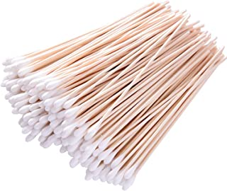 Cotton Swabs with Wooden Handles 200 Pieces 6'' Long Sticks Applicators for Gun Cleaning, Electronics, Cats and Dogs, Arts and Crafts