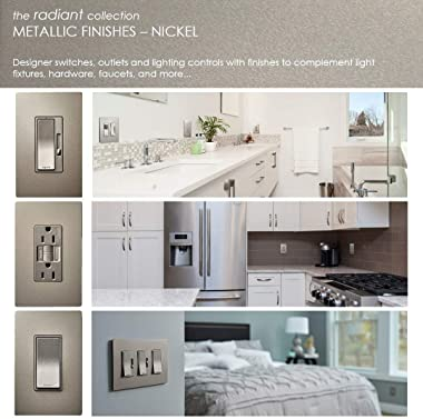 Legrand radiant Screwless Wall Plates for Decorator Rocker Outlets, 1-Gang, Brushed Nickel, RWP26NICC6