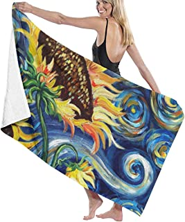 N/A Starry Night and Sunflowers Beach Towel Bath Towel Maximum Softness & Absorbency for Daily Use Outdoor Sports Travel Swim