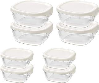 HARIO(ハリオ)耐熱 ガラス製 保存容器 ホワイト S250ml M600ml 日本製 オーブン 電子レンジ 食洗器対応 食器 保存に便利 KST-5604-OW 8個入り