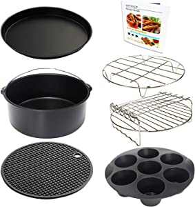 9 Inch Air Fryer Accessories XL 7 PCS with Cupcake Pan, Pizza Pan, Silicone Baking Cup, Recipe Cookbook for 9 Inch 5.3Qt - 6.8Qt and Larger Size Phillips Air Fryer Pressure Cooker Steamer