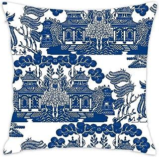 SOPARLLY Cotton Linen Square Decorative Throw Pillowcase Cushion Cover Retro Style Blue and White Porcelain Bohemian Floral Design Dark Blue Background 18X18 Boho Floral