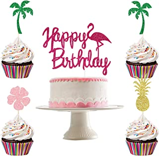 Glittery Flamingo Happy Birthday Cake Topper and 24Pcs Pineapple Coconut Tree Hibiscus Flowers Cupcake Toppers- Hawaii Bir...