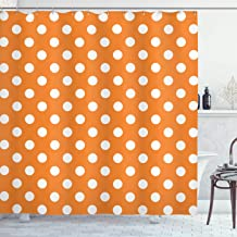 Ambesonne Polka Dots Home Decor Collection, Classic Old-Fashioned Polka Dots Continuous in Spacing and Shape 20's Design, Polyester Fabric Bathroom Shower Curtain, 75 Inches Long, Orange White