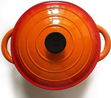 Cacerola redonda para horno holandés, color naranja, 25,9 cm, una cazuela redonda de hierro fundido con tapa ajustada y asas