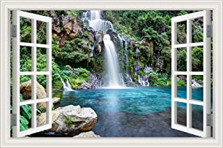 GreatHomeArt Removable Wall Murals Peel and Stick Waterfalls Window Scenes 3D Wall Sticker Vinyl Wallpaper Decorations for...
