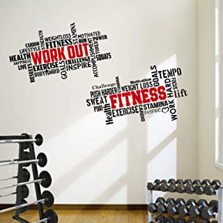 DesignDivil 2 Large Pro Workout Fitness Motivational Wall Decals Gym Quotes. Excellent Value!
