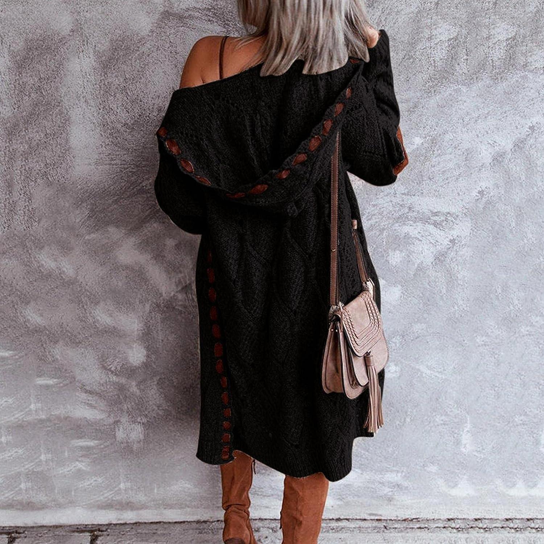 Mingleigo Cardigan for Women Plus Size Long Sleeve Patchwork Lightweight Open Front Knit Cardigan Sweaters Outerwear Coat