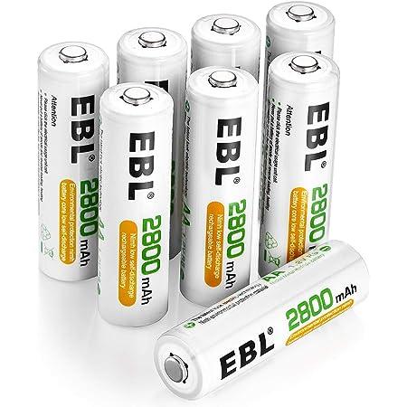 EBL 1.2V AA Batterie Ricaricabili con 1200 cicli, Pile Ricaricabili da 2800mAh Ni-MH con Comodo Astuccio, Confezione da 8 pezzi