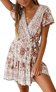 af5f5e5dde3 Ehpow Femmes Mini Robe Boheme Ete Encolure en V Vacances Robe Florale  Manches Courtes de Plage