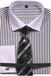 Sunrise Outlet Men's Slim Fit Stripe Dress Shirt with French Cuffs and Tie