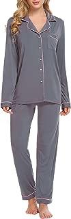 Ekouaer Pajamas Set Long Sleeve Sleepwear Womens Button Down Nightwear Soft Pj Lounge Sets XS-XXL