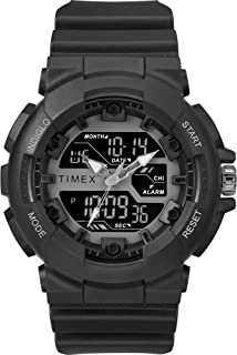 Timex Men's TW5M22500 DGTL HQ Sporty Combo 50mm Black/Negative Resin Strap Watch