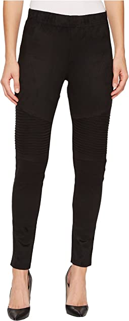 "Pull-On 28"" Mix Media Biker Leggings"