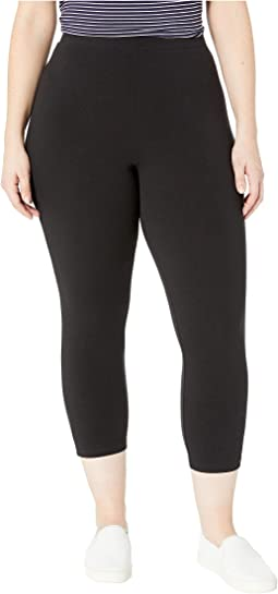 Plus Size Wide Waistband Blackout Cotton Capri Leggings