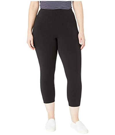 HUE Plus Size Wide Waistband Blackout Cotton Capri Leggings (Black) Women