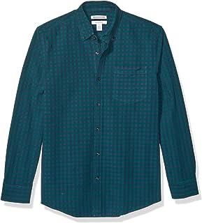 Amazon Essentials Camisa Oxford de Manga Larga con Bolsillo sólido de Ajuste Regular. Hombre