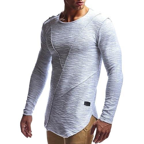 1b3f1cb5 LEIF NELSON Men's Oversized Long Sleeve T-shirt Sweatshirt LN6323