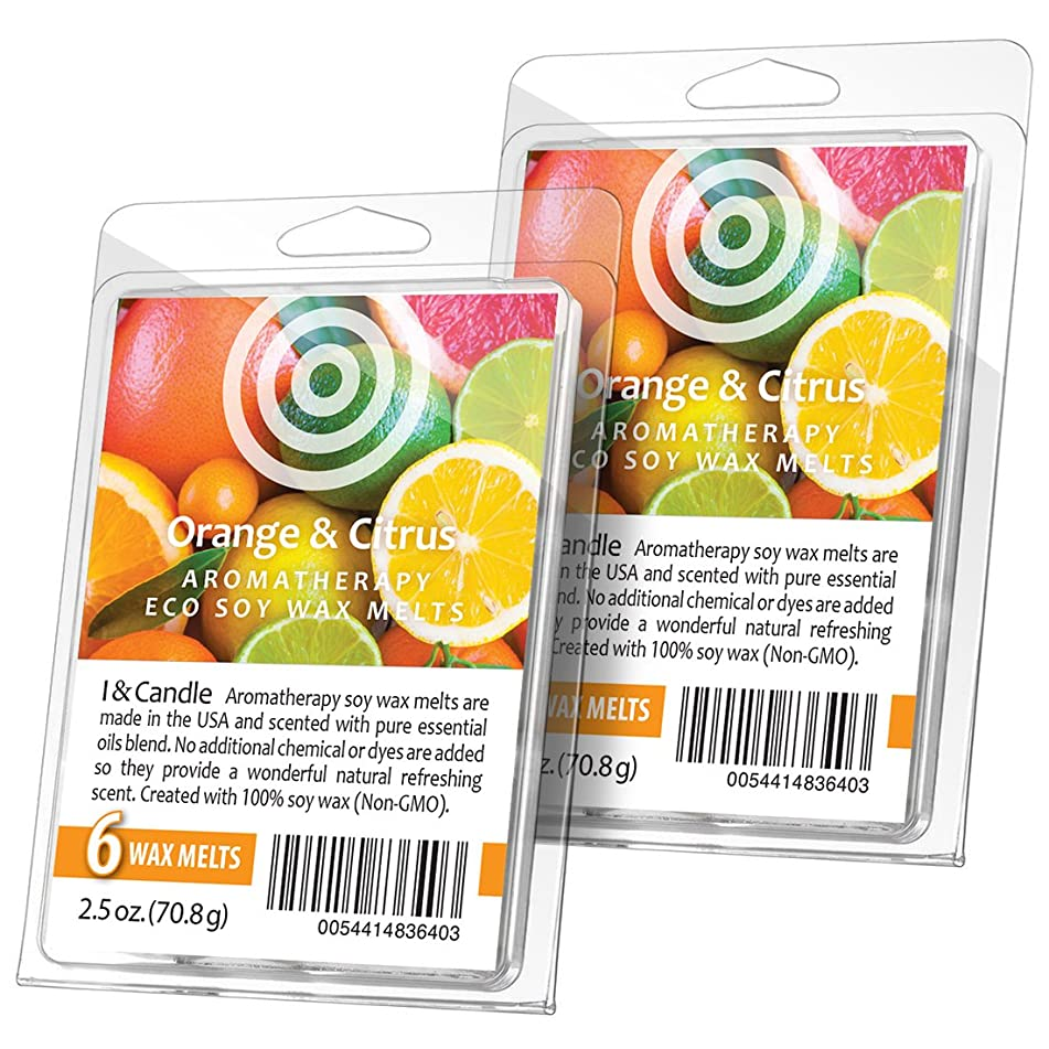 I & Candle (Orange & Citrus Aromatherapy Wax Melts. 100% Soy Wax (Non-GMO) - 2 Pack