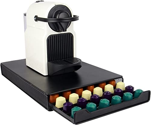 60 Coffee Pod Holder | Stylish Black Capsule Organiser | Nespresso Compatible | Drawer Storage & Coffee Machine Stand...