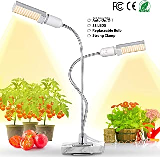 LED Grow Light for Indoor Plant, 45W Full Spectrum Sun Plant Light, Dual Head Gooseneck Grow Lamp with Replaceable Bulb, Double Switch, Professional for Hydroponics Greenhouse Gardening by Jasius
