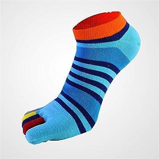 Men's Toe Socks Cotton Running Five Finger Mini Crew Socks Breathable 5 Pairs D