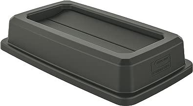 Suncast Commercial TCNLID01 Slim Trash Can, Double Flip Lid, Gray