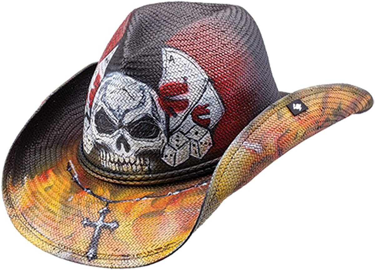 Peter Grimm Unique Limited time trial National uniform free shipping price Silver Skull Gambling HAT Drifter Cowboy
