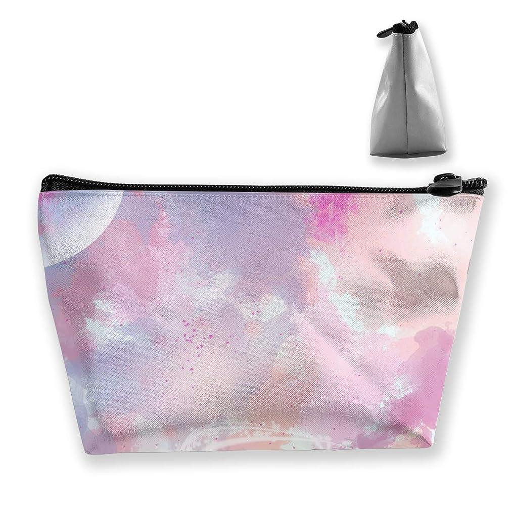 pengyong Ink Irregular Sky Makeup Bag Large Trapezoidal Storage Travel Bag Wash Cosmetic Pouch Pencil Holder Zipper Waterproof