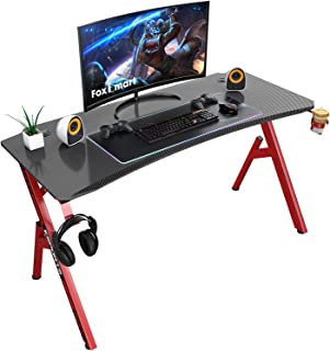 Foxemart 55 inch Gaming Desk, PC Gaming Desk Workstation, Professional Larger Gamer Desk, Powerful Office Computer Game Desk with Cup Holder & Headphone Hook