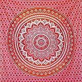 momomus Tapiz Mandala Colorido- 100% Algodón, Grande, Multiuso - Pareo/Toalla de Playa Gigante - Manta de Picnic Ligera o Alfombra Antiarena XXL - Naranja, 210x230 cm