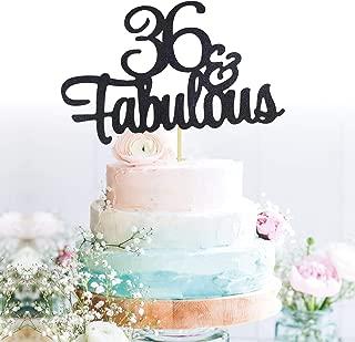 GrantParty Glitter Black 36&Fabulous Anniversary Cake Topper We Still Do 36th Vow Renewal Wedding Anniversary Cake Topper(36 Black)