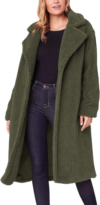 Auxo Damen Winterjacke Langarm Parka Lange Einfarbige Wintermantel Oversize Cardigan Outwear Tops 03-grün