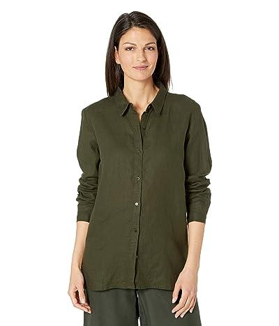 Eileen Fisher Long Sleeve Classic Collar Shirt in Organic Handkerchief Linen