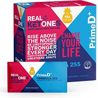 Real Ketones Prime D+ Pina Colada Caffeinated Exogenous Ketone Supplement with BHB and MCT Combo for Ketone Boost, Energy and Focus