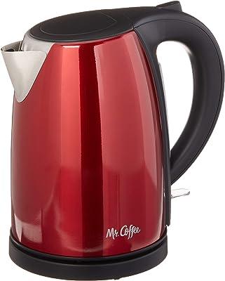 Mr. Coffee Hervidor de agua eléctrico de acero inoxidable, color rojo