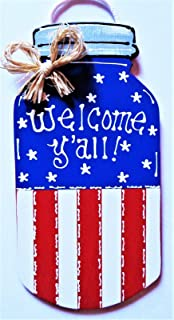 Americana Mason Jar Welcome Y'all Sign Wall Art Door Porch 4th July Plaque Decor Home Decor tokomillcrafty