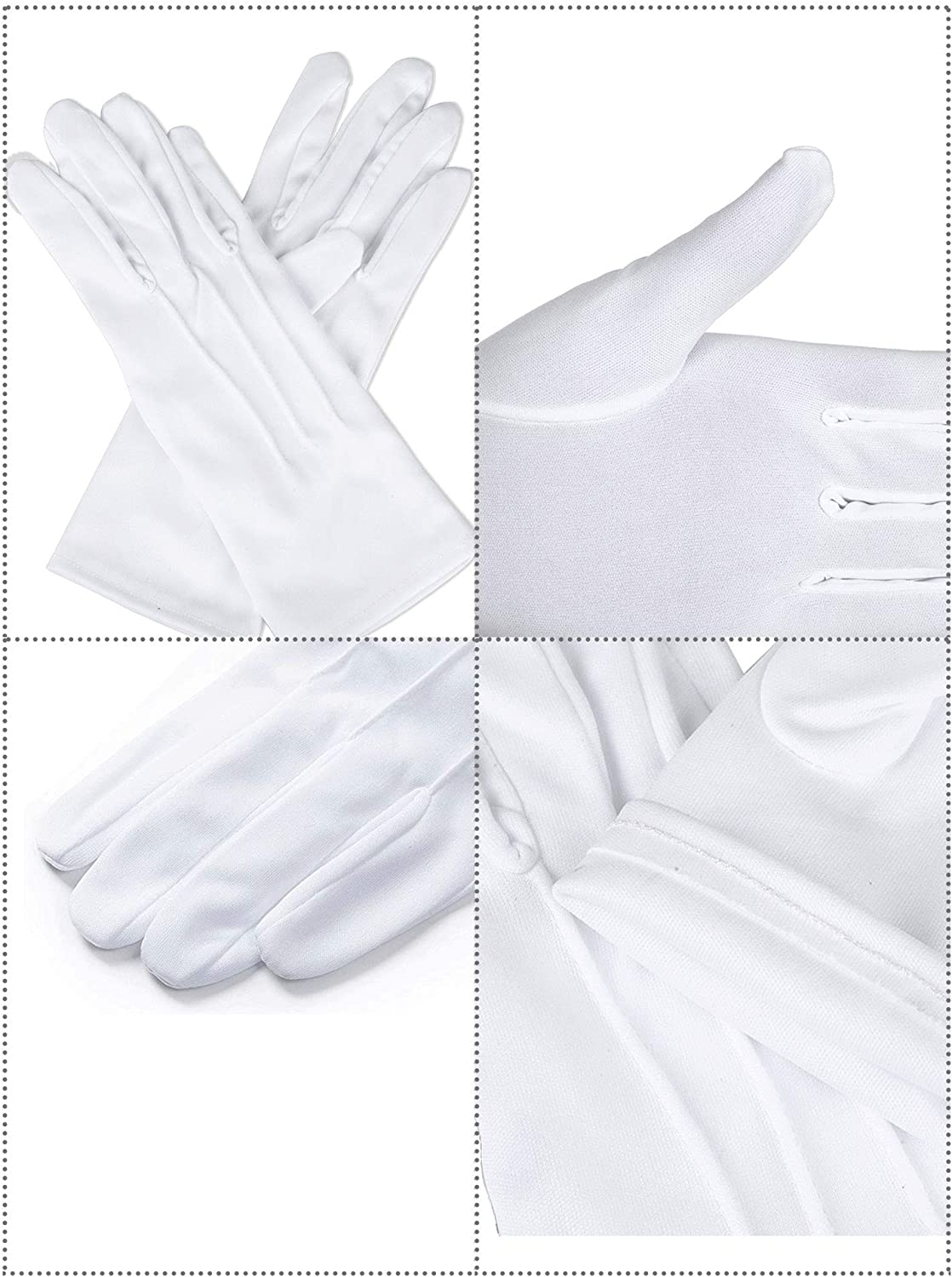 6 Pairs Uniform Gloves Parade Costume Gloves for Police Formal Tuxedo Guard (White, Polyester) : Clothing, Shoes & Jewelry