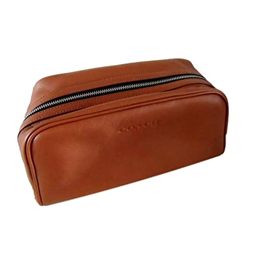 9c9bf992e11f COACH Leather Weekend Travel Dopp Toiletries Kit in Saddle Tan 93445